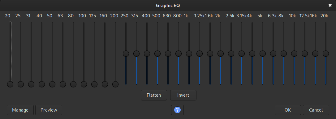 An example of removing the bass frequencies in the Graphic EQ plugin