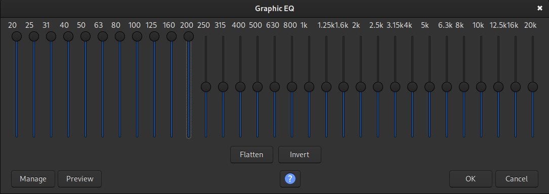 An example of boosting the bass frequencies in the Graphic EQ plugin